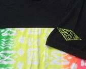 Vintage 1980s Hobie Black and Neon Colors Cotton T-Shirt L 100% Cotton