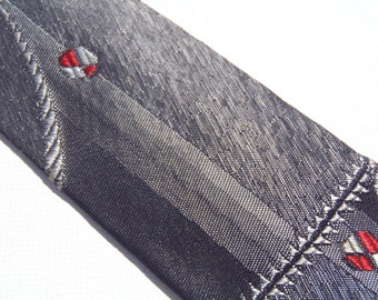 Vintage 1960s Skinny Gray Tie with Geometric Pattern by Excello