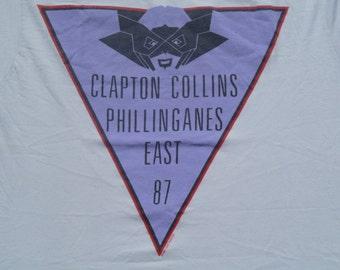 Vintage 1987 Eric Clapton Phil Collins Concert Gray T Shirt L by Ched 50 50 Cotton Poly Blend