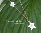 10K, 14K or 18K or Sterling Silver - Engraved Sideways Star Charm Neckalce - Couple or Family Initials - Yellow, Rose or White Gold