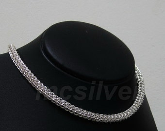 Strong Smooth Shiny 7 mm. 925 Sterling Silver Full Persian Necklace, Chainmaille Necklace, Chain Mail, Maille, Chunky Necklace Handmade