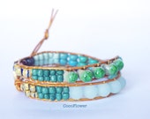 turquoise brown Bracelet two wrap leather boho jewelry