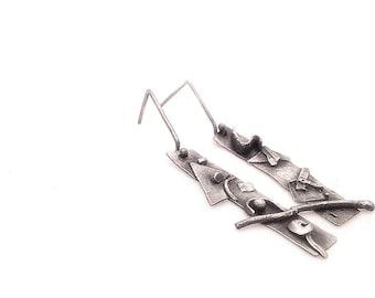 Long Sterling Silver Fusion Earrings - Oxidised