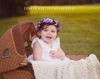 Floral Crown, newborn photo prop, newborn crown, toddler crown, Photo Prop - Plum - adjustable fits newborn to toddler
