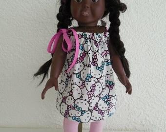 18 inch Doll Kitty Print Pillowcase Dress fits American Girl Doll