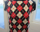 Vintage Hand Knit Argyle Wool Sweater Vest Unisex Red, White and Black
