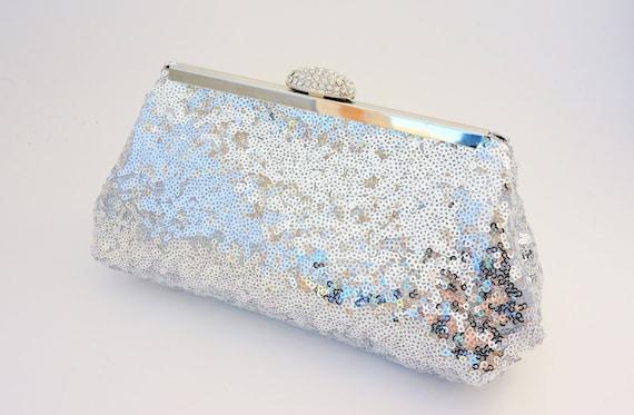 Dazzling Silver Rhinestone Sequin Bridal Clutch Handbag - Evening/Wedding/Formal/Prom Purse - Includes Shoulder Chain - Ready to Ship