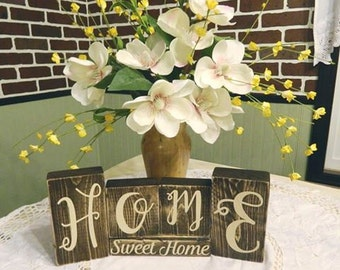 Home Sweet Home, Rustic Wood Blocks, Rustic Wood Decor, Wood Blocks, House Warming Gift, Wood Sign, Love My Home