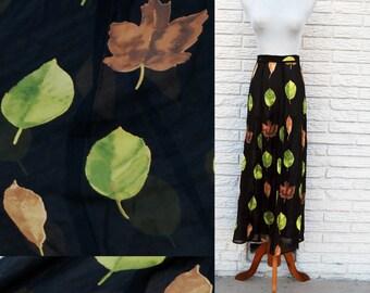 FALL LEAFS Black Sheer Graphic Print 90s A-Line Maxi Skirt