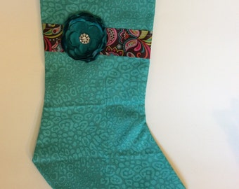 Stocking, christmas stocking, teal, turquoise leopard print, floral