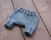 Knitted newborn baby diaper cover in charcoal grey