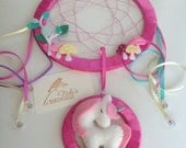 Unicorn dreamcatcher for kids with toadstools - rainbow dreamcatcher room decor - nursery mobile