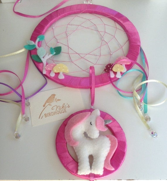Unicorn dreamcatcher for kids with toadstools rainbow - Atrapasuenos para ninos ...