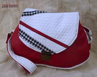 handbag leather red and white fabrics