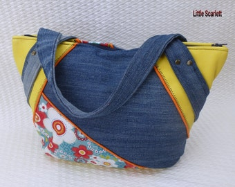 handbag leather yellow and jean and tissue flowers