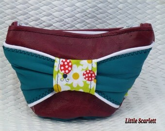wallet green and Burgundy leather and fabrics ladybugs