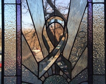SURVIVOR Support Ribbon - Beveled Stained Glass Panel
