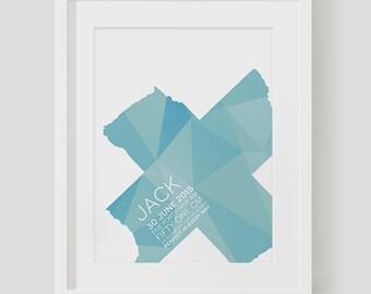 A4 Custom Birth Print - Aqua Polygons