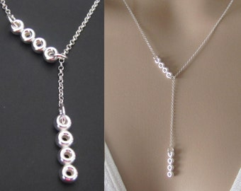 Circles Bar Lariat Neckace, Sterling Silver Necklace, Pendant Necklace, Jewelry, Gift