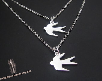 Birds Strand Necklace, Double Layered Necklace set, Sterling Silver Birds Necklace, Pendant Necklace, Jewelry, Gift