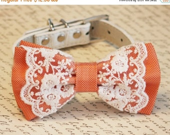 Orange Dog Bow Tie, Vintage Wedding, Pet wedding accessory,Wedding accessory, boho wedding, Victorian wedding