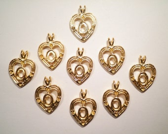 10 Gold Plated Heart Pendants with 5x7mm Setting