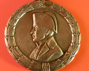 Antique Large  French Religious  Medal Napoleon Bonaparte  Signed G. Contaux  Antique Pendant Old  Charm 6/Ms/1