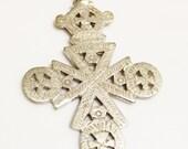 Large Ethiopian Coptic Cross Pendant , African Ethnic Pendant (M15)
