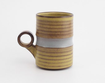 "Modern Handmade mug. Green and grey coffee mug with ergonomic single finger ""ring"" handle. Great gift. stoneware pottery. ceramics."