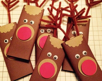 Reindeer Holiday Candy Bars, Christmas Stocking Stuffers