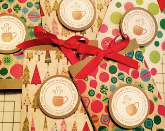 Set of 2 Holiday Hot Cocoa Sliders, Christmas Stocking Stuffers