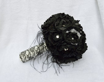 Black Fabric Flower Bridal Bouquet, Halloween Wedding, Pearls and Ostrich Feathers