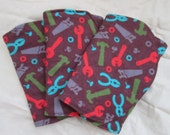 Three (3) Flannel Burp Cloths - Brown with Red, Green, Grey, and Blue Tools - Fix It - Quilted and Contoured - Baby Shower Gift