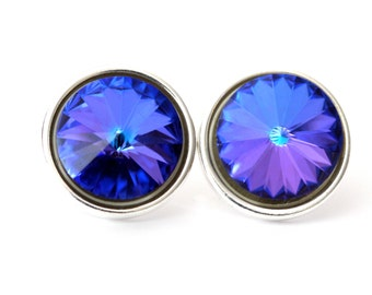 Rivoli Earrings Post Earrings Heliotrope Swarovski Rivoli Stud Earrings Purple Earrings Rhinestone Earrings Bridesmaid Earrings HE34