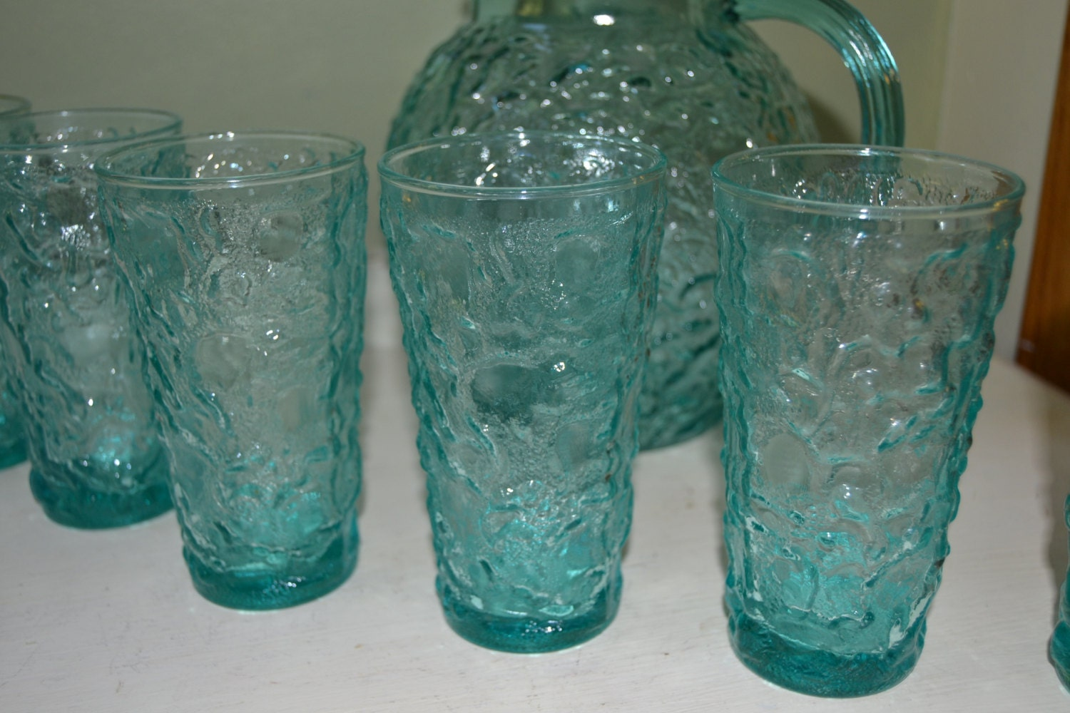 Vintage Pitcher Aqua Blue Glass Pitcher Amp Glass Set By