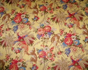 LEE JOFA KRAVET Monkey Bird Floral Toile Linen Fabric 10 Yards Yellow Gold Multi