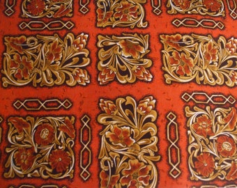 Scroll style print red fat quarter Fabric 100% cotton