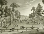 1822 Antique print of HORSE RIDING in PARIS. Equestrianism. Horseback riding. Horses. 195 years old copper engraving