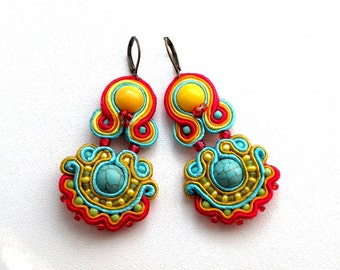 Indian Summer - Dangle soutache earrings