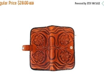 Vintage Genuine Leather Wallet with Mirror Soviet Era Tooled Leather Retro Bags and Purses