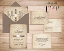 PRINTABLE WEDDING INVITATION rustic country vintage suite - barn yard wedding