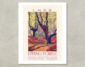 Epping Forest LNER British Travel Print - 8.5 x 11 Print -  also available in 11x14 and 13x19 - see listing details