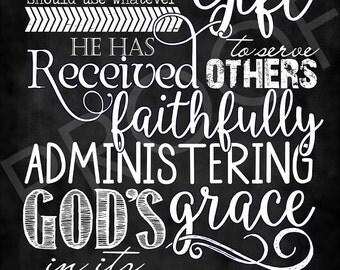 Scripture Art - I Peter 4:10 ~ Chalkboard Style