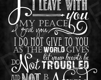Scripture Art - John 14:27 Chalkboard Style