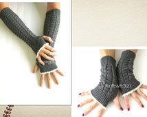 Gifts For Her, Gifts For Women, Arm Warmers in Dark Gray- Arm Warmers-Fingerless Gloves.