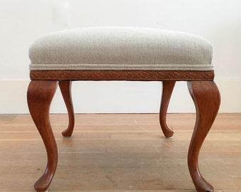 Upholstered Vintage Footstool Ottoman