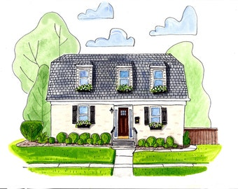 Ink and Watercolor House Portrait.  Now with extra whimsy!  Medium size home.  Father's Day, Christmas, Anniversary, Birthday, Wedding, etc.