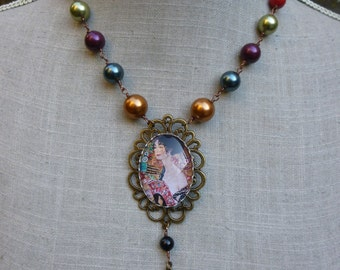 "Necklace Klimt Christmas, cabochon and Crystal ""The range"" multicoloured beads"
