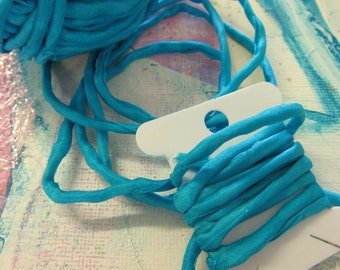 Hand Dyed Silk Ribbon -  Blue Silk Cord - couching cord - jewelery supplies - Bright Turquiose