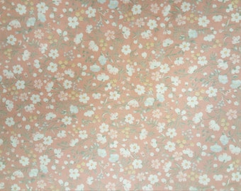 Cream Flowers on Peach Background by Joan Kessler for Concord Fabrics
